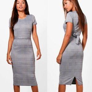 Boohoo Check Print Belted Midi Dress